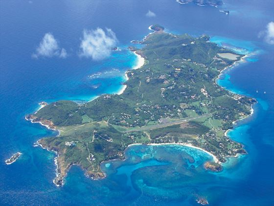 Aerial view of Cotton House on Mustique Island