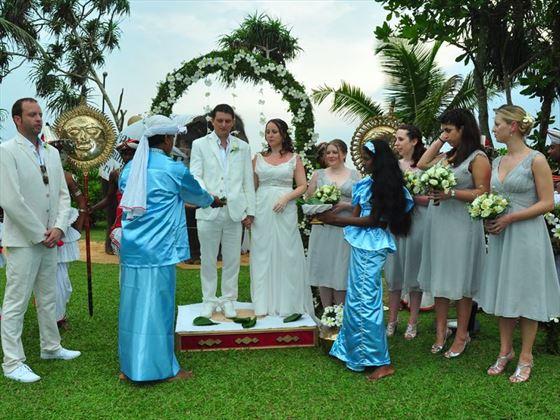 Bride and Groom on the wedding poruwa