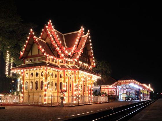 Hua Hin illuminated railway station at night