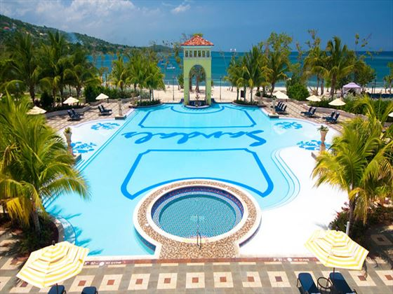 Main swimming pool at Sandals Whitehouse European Village and Spa