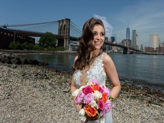 Pebble Beach bride at Brooklyn Bridge Park