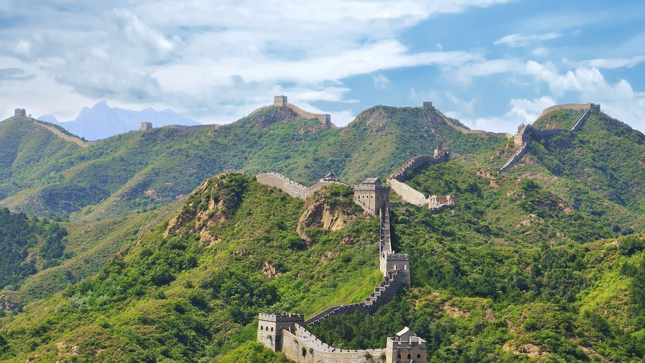 The Great Wall of China in the summer