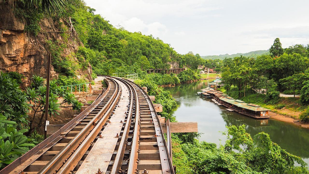 River Kwai and wooden rail bridge, Kanchanaburi