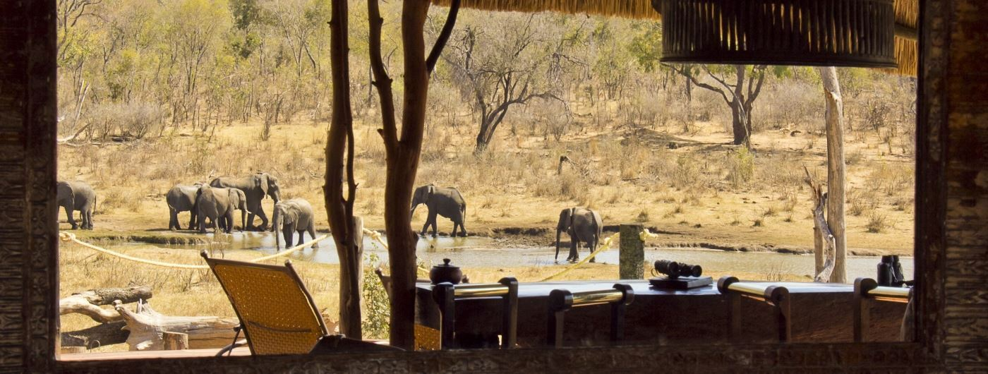 Khulu Ivory Lodge view of waterhole from main camp
