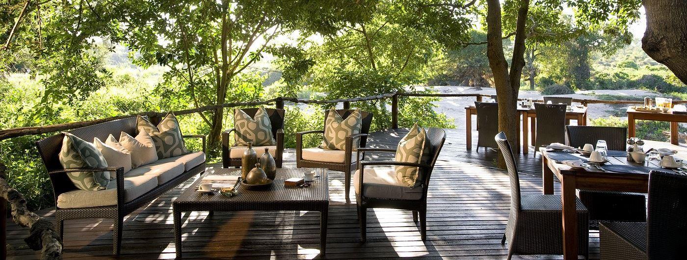 Lion Sands River Lodge main decking area
