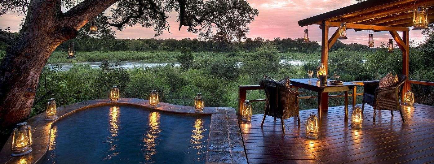 Lion Sands Tinga Lodge private deck and plunge pool