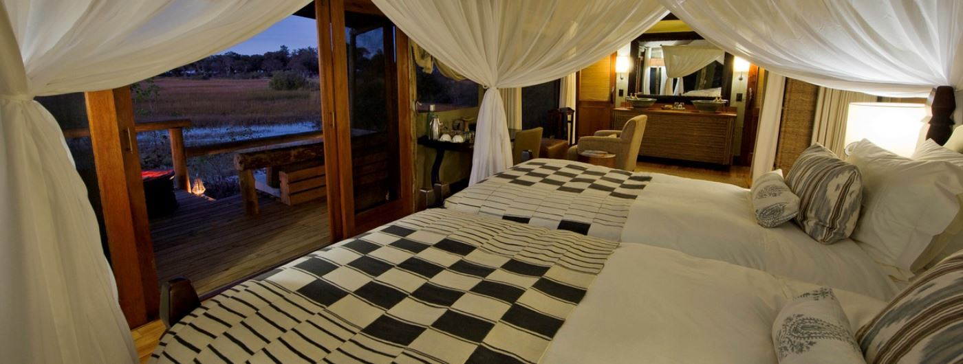 Little Vumbura Camp tented room interior