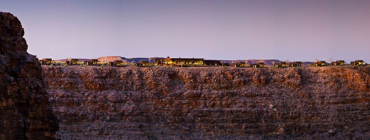 Fish River lodges dotted along the ridge of Fish River Canyon
