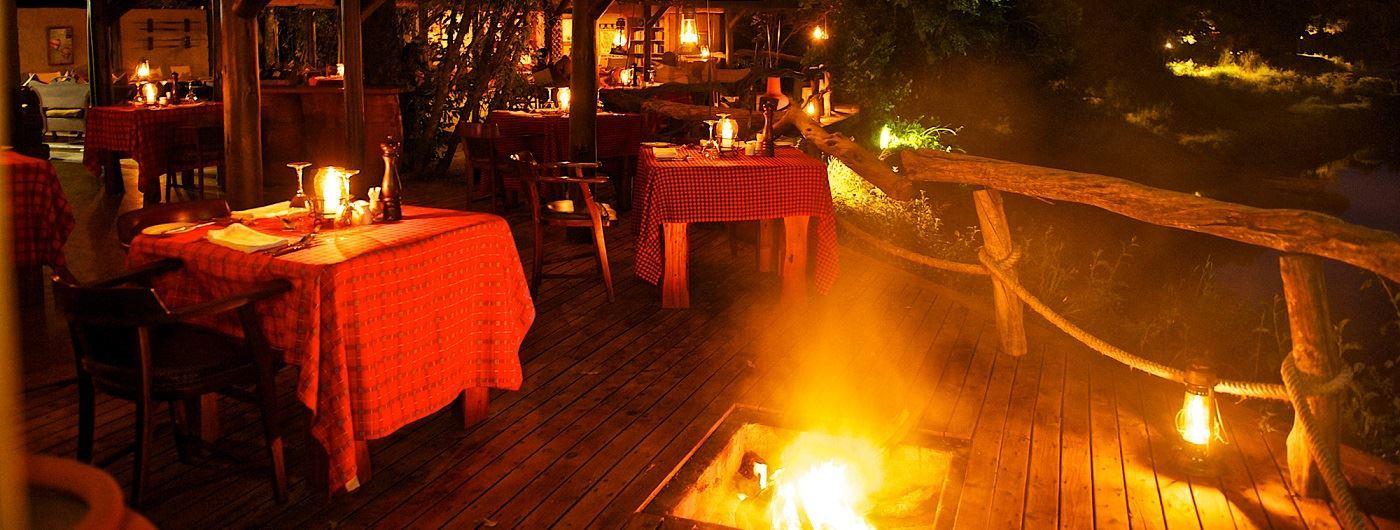 Mara Explorer Luxury Tented Camp dining veranda and fire pit