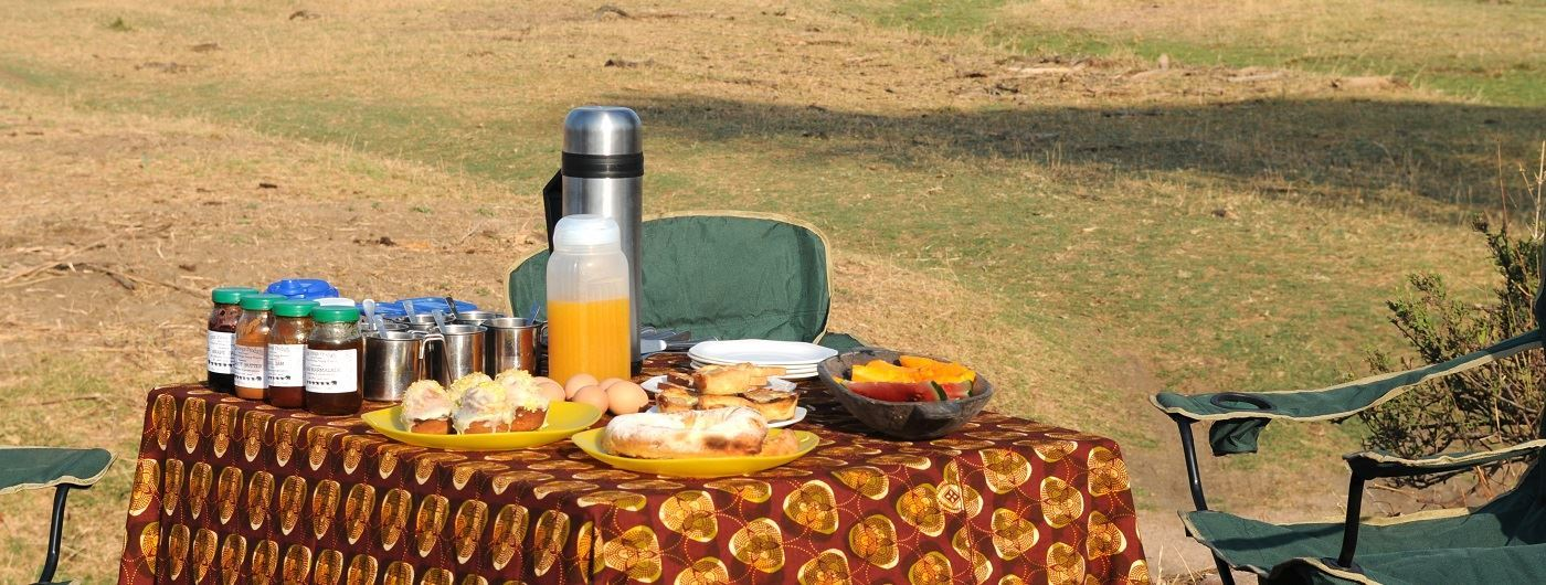 Mwagusi Camp al fresco breakfast