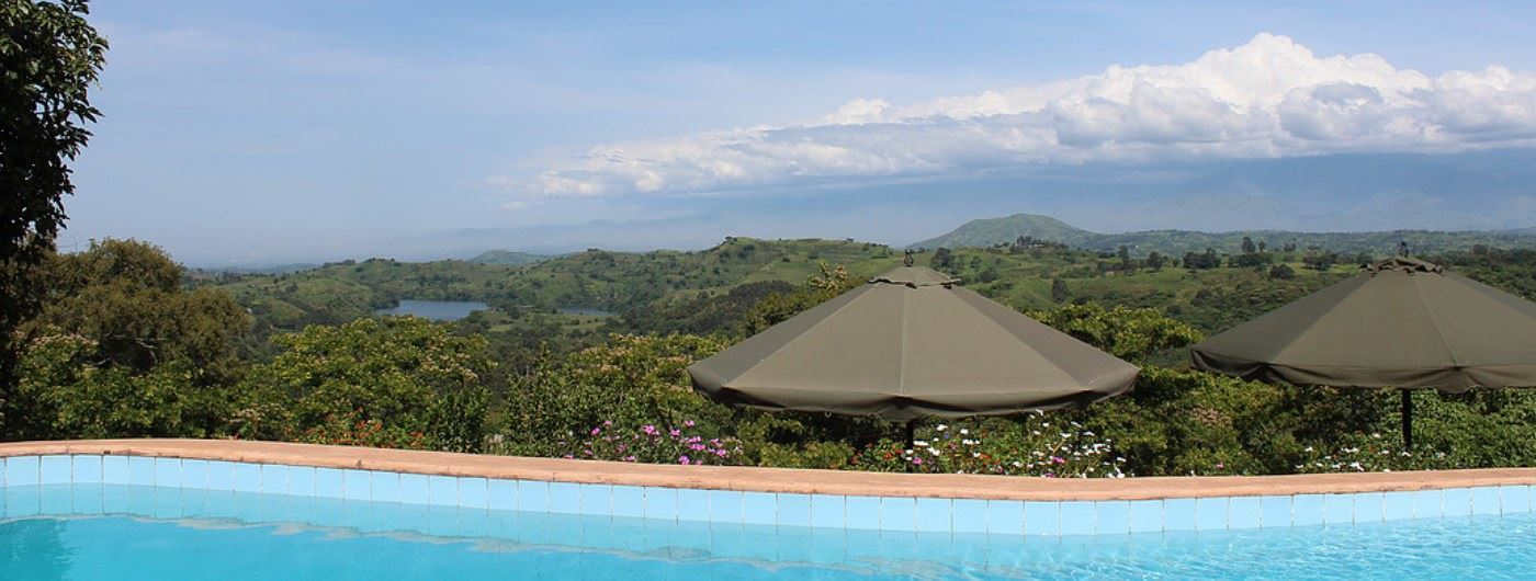 Swimming pool with a view at Ndali Lodge