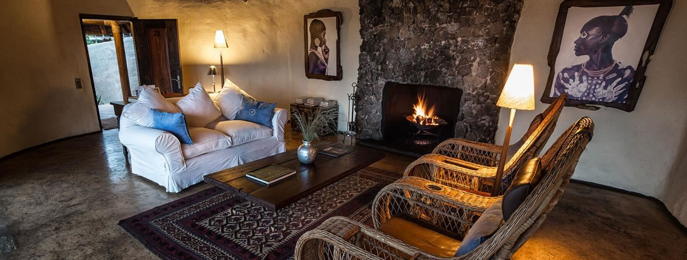 Ol Donyo Lodge lounge and fireplace