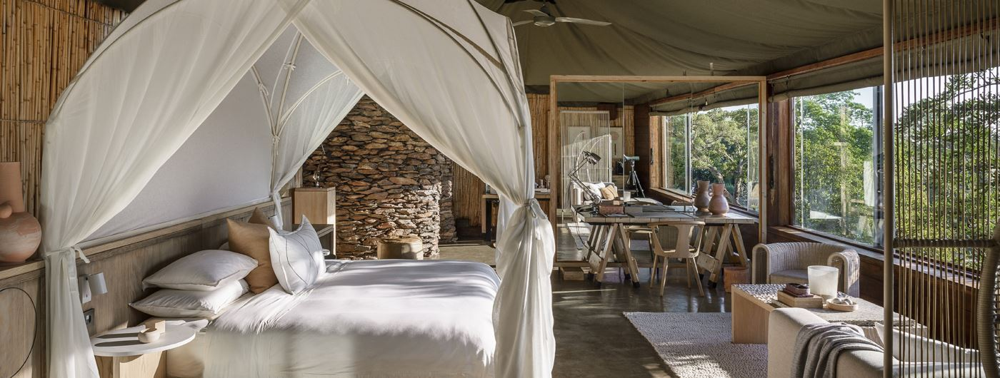 Suite interiors at Singita Faru Faru