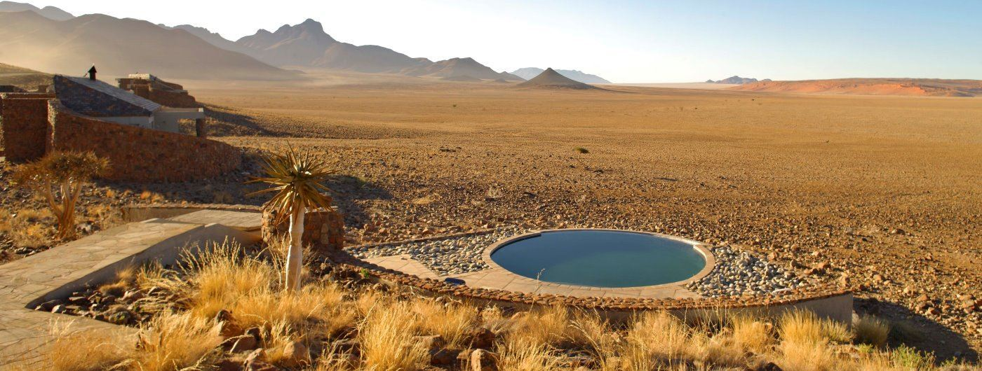 Sossusvlei Desert Lodge plunge pool and desert views
