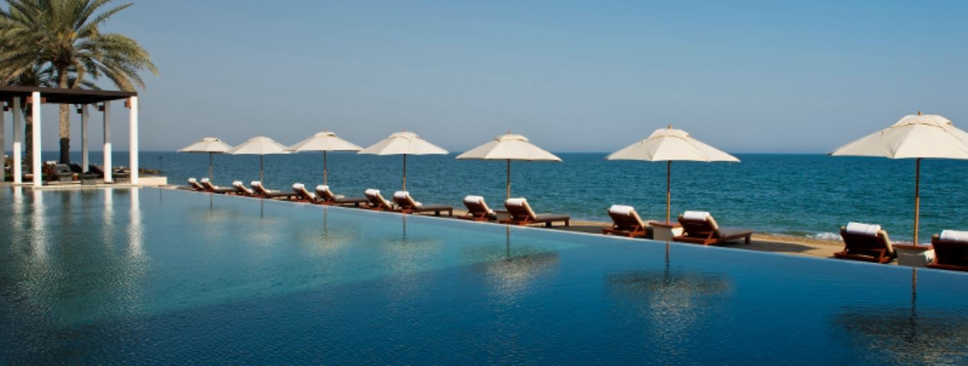 The Chedi pool overlooking the sea