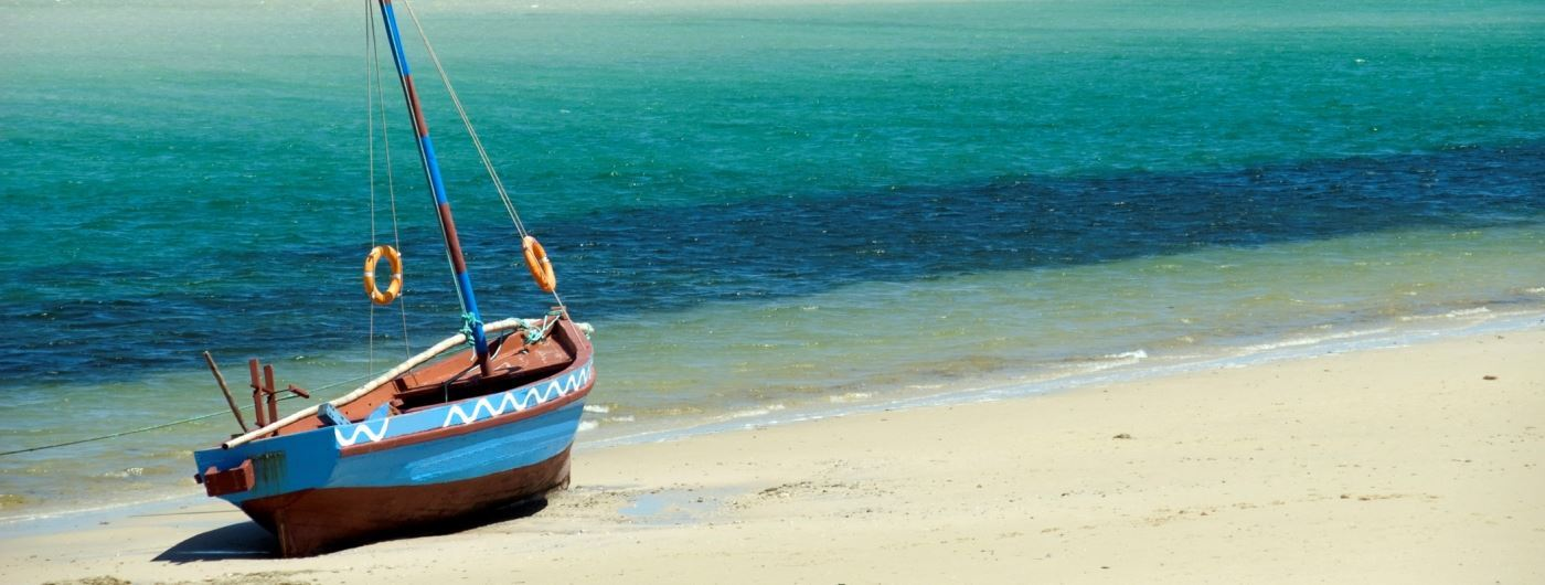Traditional dhow on Mozambique beach