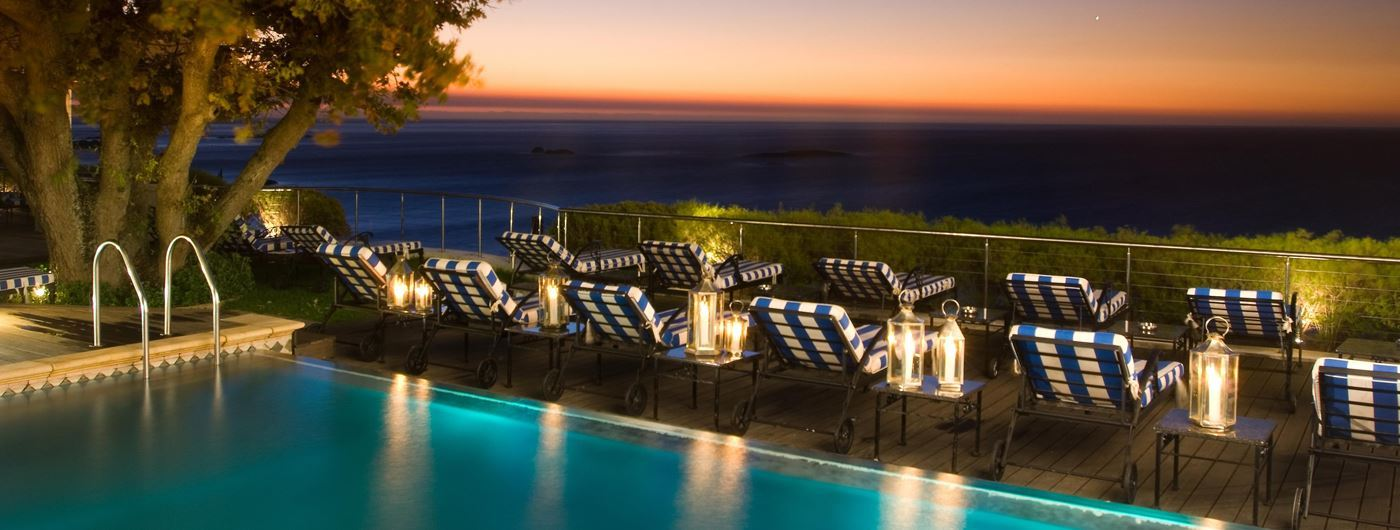 Twelve Apostles Hotel pool at night