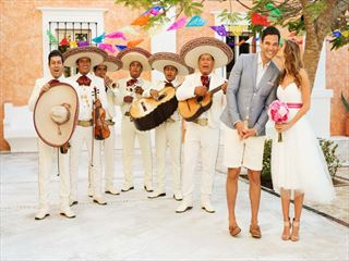 Bride, Groom and wedding guests at Excellence Riviera Cancun