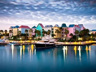 Colourful harbour at night, Nassau
