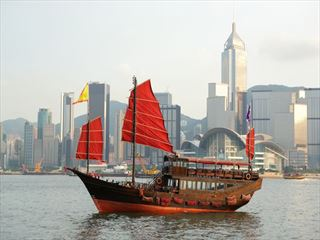 Saling boat in the bay of Hong Kong