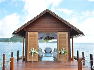 The new Chapel over the water at  Sandals Grande St Lucian Spa & Beach Resort