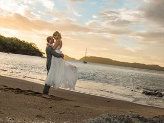 Bride & Groom on the beach at Secrets Papagayo
