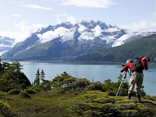 Taking photos in Prince William Sound, Alaska