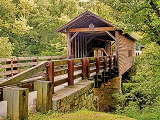 Wooden covered bridge in Appalachia