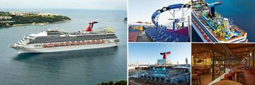 Carnival Sunshine, Ship Exterior, Water Works Slides, Aerial View of Slides, Splash Pool Deck, Red Frog Pub