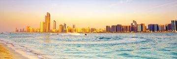 Abu Dhabi skyline at sunset