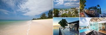 Aleeta Phuket Hotel; Beach, Exterior looking onto the beach,Infinity Pool at night, One Bedroom Residence Deck, The Edge Restaurant (shown clockwise) ,