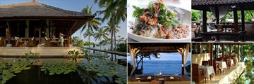 Alila Manggis, (clockwise from left): Seasalt Restaurant, Dinner Option, Bali Aga Dining Experience, Seasalt Restaurant and Dining by the Sea