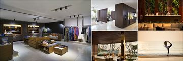 Alila Seminyak, (clockwise from left): Boutique, Gym, Coffee Bar, Sunrise Yoga and Lobby Lounge