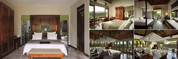 Alila Ubud, (clockwise from left): Deluxe Room, Superior Room, New Terrace Villa, Pool Villa and Valley Villa Bedrooms
