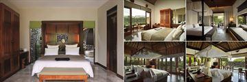 Alila Ubud, (clockwise from left): Deluxe Room, Superior Room, New Terrace Villa, Pool Villa and Valley Villa Bedrooms