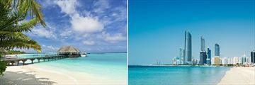The landscapes of the Maldives & Dubai