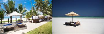 Beach Sun Loungers and Almanara Beach at Almanara Luxury Resort