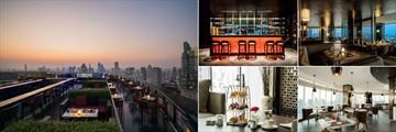 Anantara Bangkok Sathorn, (clockwise from left): Zoom Sky Bar, Zoom Sky Lounge Bar, Interior, Kasara Executive Lounge and Kasara Executive Lounge Afternoon Tea