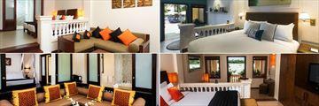 Anantara Hoi An, (clockwise from top left): Deluxe Room, Deluxe Balcony Room, Deluxe River View Suite and Anantara River View Suite
