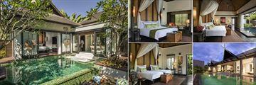 Anantara Mai Khao Phuket Villas, (clockwise from left): Sala Pool Villa, Pool Villa, Two Bedroom Connecting Double Pool Villa, Two Bedroom Pool Pavilion Villa and Two Bedroom Family Pool Villa