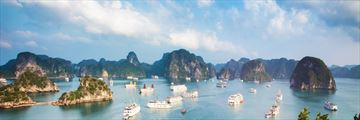 Ships anchored along Halong Bay
