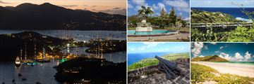 Antigua English Harbour by night, Independance Square Basseterre, St Kitts Scenic Railway, Sandy Bank Bay St Kitts, Brimstone Hill Fortress