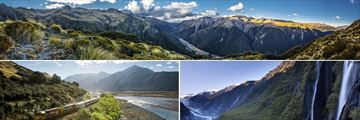 Panorama of Arthur's Pass, the Tranz Alpine Train & Franz Josef Glacier scenery
