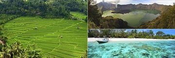 Bali Rice Terraces, Rinjani Lombok and Gili Island waters