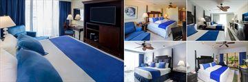Barcelo Aruba, (clockwise from left): Royal Level Suite Ocean View, Deluxe Room, Deluxe Pool Ocean View, Deluxe Lanai Pool View and Deluxe Ocean View Rooms
