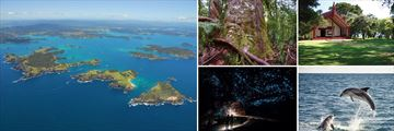Attractions and scenery in the Bay of Islands, North Island