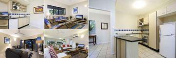 Bay Villas Resort, Port Douglas, Studio Kitchen, One Bedroom Apartment Living Area, Three Bedroom Apartment Kitchen, Three Bedroom Apartment Living Area and Two Bedroom Apartment Living Area
