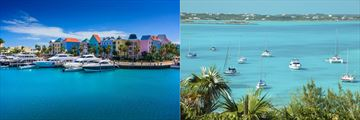 Marina and pastel architecture, Bahamas
