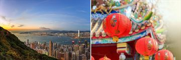 Beautiful Skyline & Traditional Chinese Lanterns in Hong Kong, China
