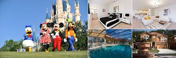 Characters at Magic Kingdom (credit: Walt Disney World) and Bella Vida Resort Homes, Bedroom, Living Area, Exterior and Pool